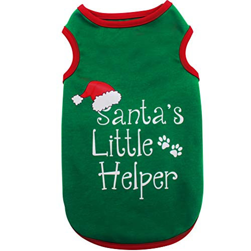 BeMiracle Christmas Dog Shirt for Small to Medium Dog, Green Dog T-Shirt Soft Clothes Costumes for Puppy and Cat, Medium