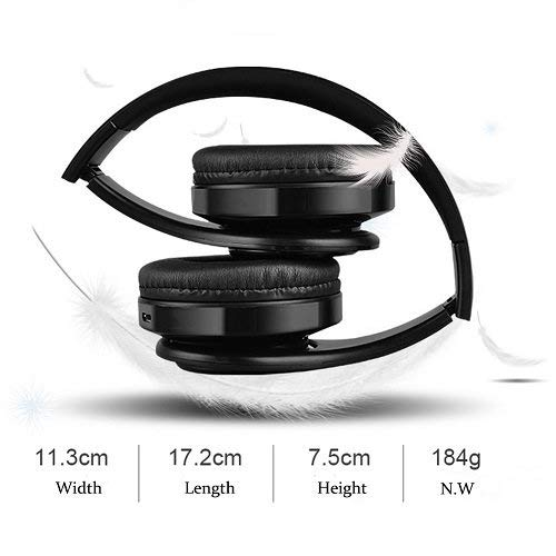 Wireless Headset with Mic, Foldable Bluetooth Headphone with 3.5mm Audio Jack, Built-in Noise Cancelling Microphone…