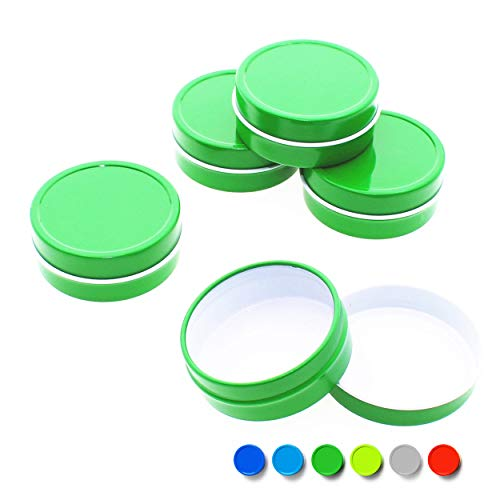 Mimi Pack 2 oz Tins 24 Pack of Shallow SlipTop Round Tin Containers with Lids For Cosmetics, Party Favors and Gifts (Green)