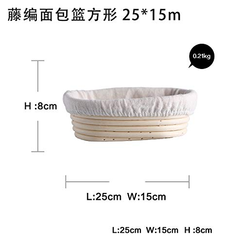 Rattan Oval Proofing Bread Basket with Liner Baguette Dough Pastry Banneton Brotform Bowl Baking Food Storage Baskets Organizer Oval 21X15X8cm