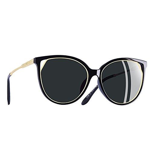 mujeres TIANLIANG04 Templo Gafas para gato Moda de de Strass sol gafas C5vino UV400 rojo ojo polarizadas C1Gray de PUPrq4w