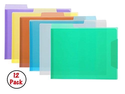 1InTheOffice Translucent Poly File Folders, Assorted, 12/Pack