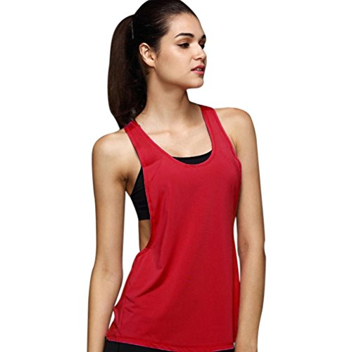 Dragon868 Women's Summer Sexy Vest Top, Loose Gym Sport Training Running Tank Top Red