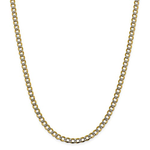 14k Yellow Gold And Rhodium Plated 5.2mm Semi Solid Curb Chain Necklace 16inch 14k Yellow Gold Rhodium Plated