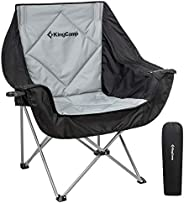 KingCamp Oversize Camping Folding Sofa Chair Padded Seat with Cooler Bag and Armrest Cup Holder, Black&Dar
