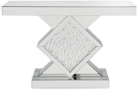 Major-Q 31 Modern Style Contemporary 4mm Fully Mirrored Rhombus Pedestal Base Console Vanity Table with Clear Glass and Faux Crystal Inlay