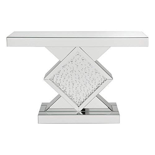 "Major-Q 9090068 31"" Modern Style Contemporary 4mm Fully Mirrored Rhombus Pedestal Base Console Vanity Table with Clear Glass and Faux Crystal Inlay"