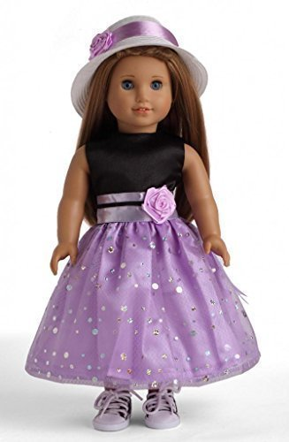 Black & Light Purple Party Dress Doll Clothes for 18