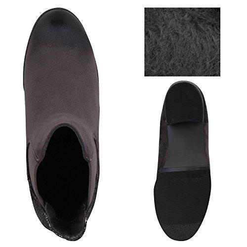 Stiefelparadies Damen Chelsea Boots Plateau Stiefeletten Profilsohle Schuhe Velours Metallic Booties Knöchelhohe Stiefel Blockabsatz Plateauschuhe Flandell Grau Metallic