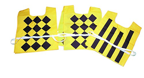 Athletic Specialties Sideline Official Pinnies, Set of 3 Nylon Pinnies, Bright Gold with Black Markings