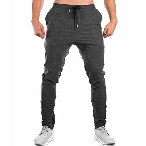 Men Sweatpants,Caopixx Men's Slacks Casual Elastic Sportwear Baggy Jogging Pockets Trousers (Asia Size L=US Size M, Gray)
