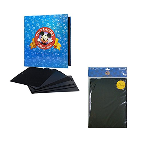 Disney Theme Parks Pin Trading Bundle 3-Ring Binder with Pin Pages & Dividers + 1 Set of 5 Refill Pages and Dividers by Themepark ()