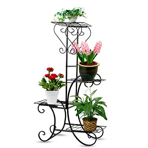 4 Tier Metal Flower Pot Stand Outdoor Indoor Iron Plant Stand Multi Tier Displaying Shelf, Black ()