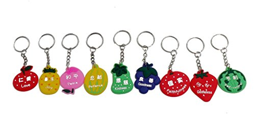 (Christian gifts the fruit of the Spirit,Lord's day school prizes Gospel of supplies Silicone scripture key Tags Chains(9pc))