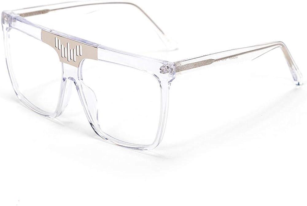 hqpaper Étoiles européennes et américaines avec les mêmes lunettes de soleil, lunettes de soleil de boîte à notes, verres de plaque coréenne White Frame Transparent