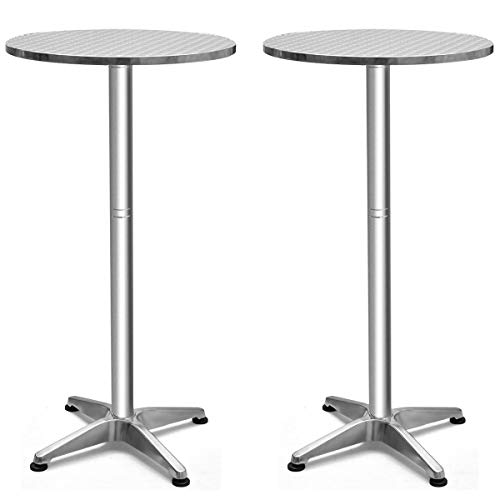 Giantex Bistro Bar Table Aluminium Round Folding Table W/Two Height Adjust Table (2)