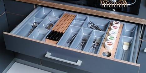 Portaposate Per Cassettiera Da 90 Cm.Inserto Portaposate Linea Inclusi 4 Separatori Per Cassetto Da