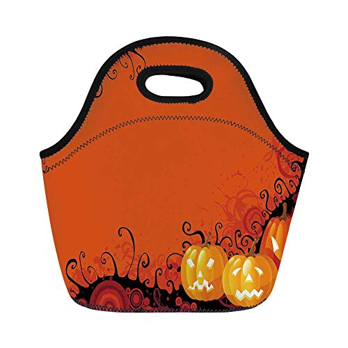 Spider Web Durable Lunch Bag,Three Halloween Pumpkins Abstract Black Web Pattern Trick or Treat Decorative for School Office,11.0