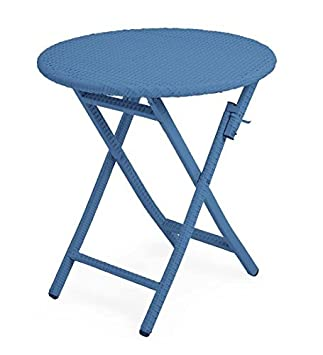 Plow Hearth 39014-BL Tangier Wicker Outdoor Folding Bistro Table, Blue