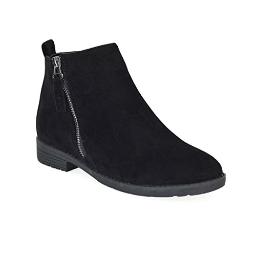 ESSEX GLAM Womens Black Faux Suede Flat Heel Zip Up Ankle Boots 9 B(M) US