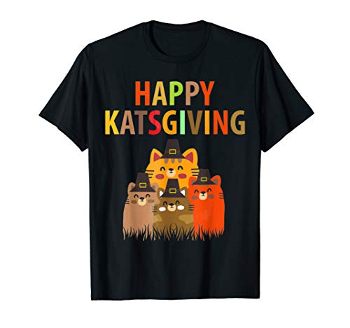 Happy Katsgiving Thanksgiving Cats Lovers Pilgrim Hat Tshirt -