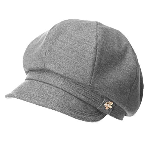 Womens Newsboy Caps Soft Satin Lined Visor Berets Cabbie Solid Adjustable Vintage Soft Hats,Gray,M 56cm (Womens Adjustable Hat Charlie)