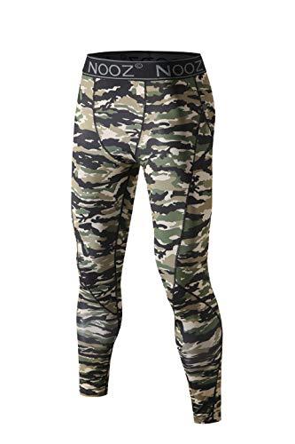 Nooz Men's Quick Dry Powerflex Compression Baselayer Pants, Legging Tights for Men - Army Camo, Medium