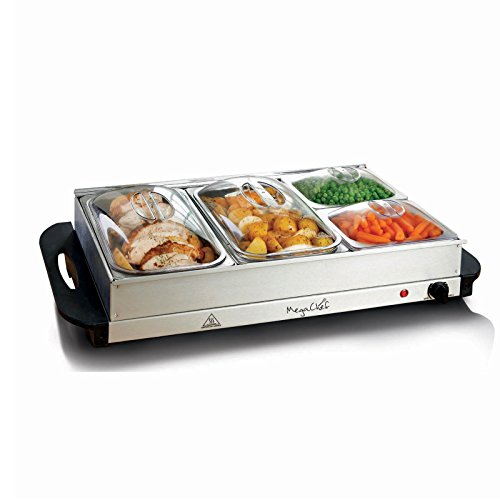 MegaChef Buffet Server & Food Warmer With 4 Removable Sectional Trays, Heated Warming Tray and Removable Tray Frame