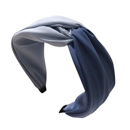 Iusun Hairband Contrast Color Cross Tie Vintage Wide Hair Head Hoop Hairpin Accessory Women Girls Jewelry Decoration Headband Headwear -