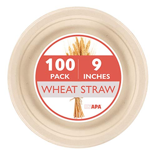 "10"" Biodegradable Disposable Healthy Wheat Straw Round ... 
