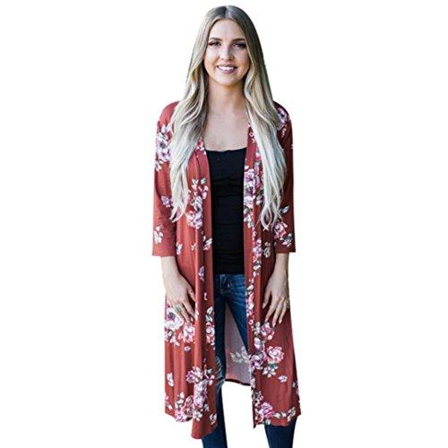 Kimono Pullover (Floral Cárdigan, Misaky Womens Print Bohemia Kimono Oversized Shawl Long Blouse (S, Red))