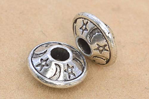 20 Pcs - 8x4MM Antique Silver Tone Moon & Star Saucer Spacer Beads ()