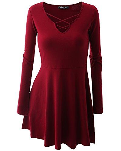 JayJay Women V-Neck Prom Light Weight Red Retro Flare Dress,X-Large