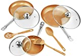 Copper Frying Pan Set with Lids and Spoons - Non-Stick Chef Pan 8,10 &12'' - Heavy Duty Temepered Glass Lids - PFOA Free Skillet, Oven & Dishwasher Safe 3 Pans 3 Lids 3 Professional Spatula & Spoon