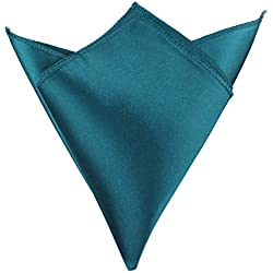 Roossys 50Pcs 12x12 Inch Satin Table Napkin - Wedding Table Napkins Bulk - Folding Table Napkins- Table Napkins for Wedding- Handkerchief for Men Suit - Restaurant Home Table Decor (Teal Blue)