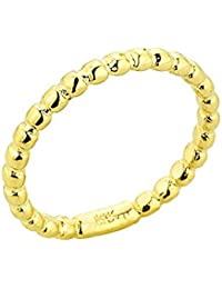 Solid 14k Yellow Gold Mid Finger Beaded Knuckle Ring