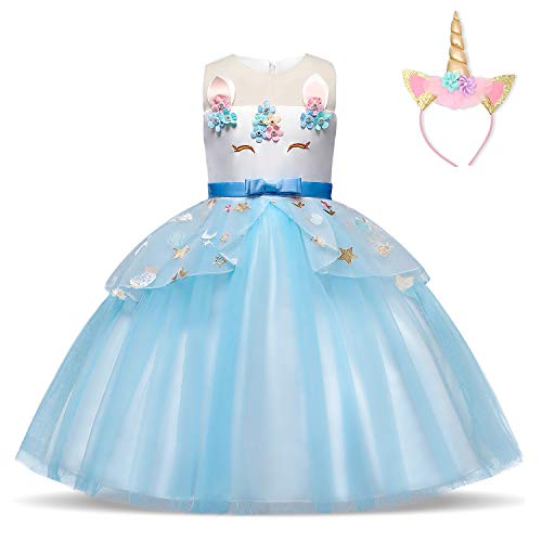 TTYAOVO Girls Unicorn Costume Dress Kids Applique Birthday Party Princess Dresses Size(140) 7-8 Years Blue -