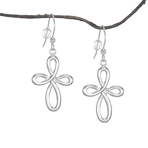 Silver Cross French Sterling (Free Fast Shipping - Infinity Cross Sterling Silver Earrings)