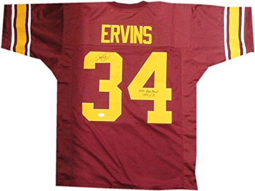 Ricky Ervins Hand Signed Autographed USC Trojans Jersey 1990 Rose Bowl #34 JSA (Autographed Rose Bowl Usc)