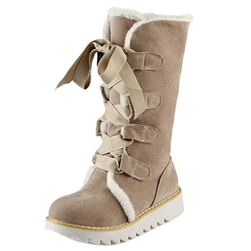 Boots Women Lace COOLCEPT Up Beige nPwpq8R51x