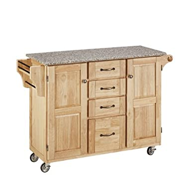 Home Styles 9100-1013 Create-a-Cart 9100 Series Cuisine Cart with Salt and Pepper Granite Top, Natural, 52-1/2-Inch