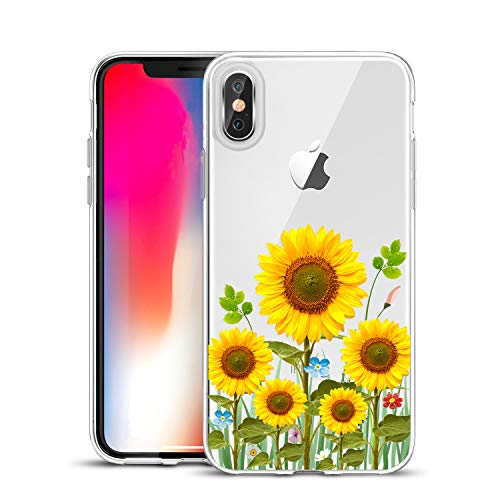 Unov Compatible Case Clear with Design Slim Protective Soft TPU Bumper Embossed Flower Pattern [Support Wireless Charging] Cover for iPhone Xs (2018) iPhone X (2017) 5.8 Inch(Sunflower Blossom) ()