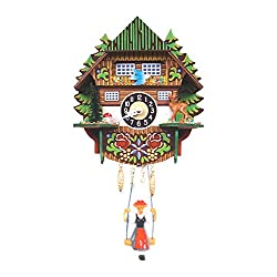 Mountain Chalet Clock with Swinging Girl and Chimes or Cuckoo Options