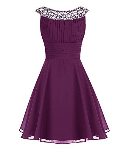 Halter Prom Dresses 2009 - Wedtrend Women's Chiffon Bridesmaid Dress Short Halter Prom Dress WT12002 Grape 4