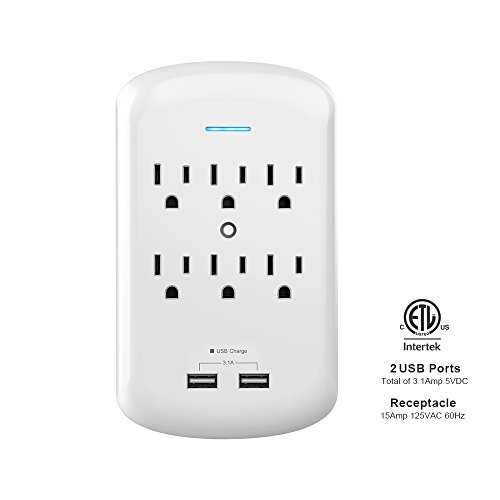 Multi Outlets, KING-LINK 6 Wall-Mount AC Outlets Surge Protector with Dual USB Charging Ports 3.1 Amp Adapter Plug, ETL - Outlet Kings