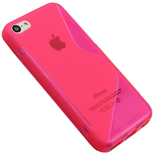 NEw Apple Iphone 5C Hot Pink Silicone Gel S Line Grip Case Cover For Apple Iphone 5C By G4GADGET®