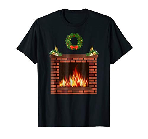 Funny novelty cool xmas gifts ugly style fireplace shirt ()