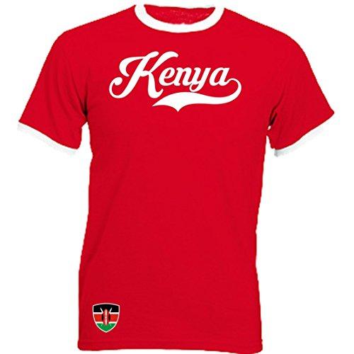 Kenia Ringer Retro TS - rot - WM 2018 T-Shirt Trikot Look