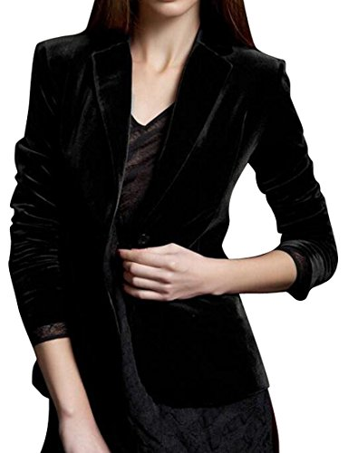 Blazer Vintage Velvet (SYTX Womens One Button Solid Color Vintage Velvet Blazer Suit Coat Jacket Outerwear Black M)