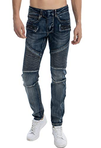 ZLZ Slim Fit Biker Jeans, Men's Super Comfy Stretch Skinny Biker Denim Jeans Pants (29, Vintage Blue)
